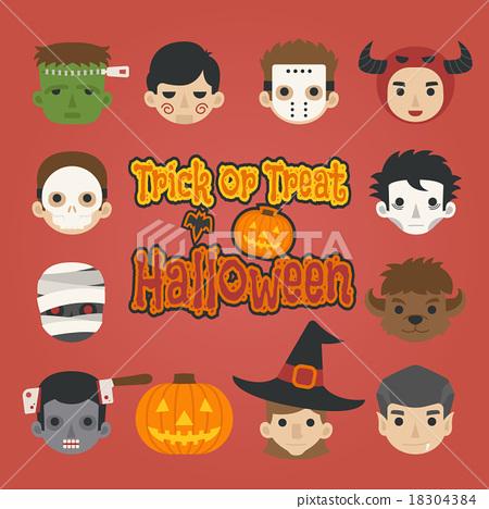 Set of halloween head , trick or treat , 18304384