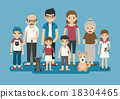 Set of big happy family character 18304465