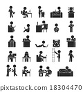Set of businessman working , Human pictogram Icons 18304470