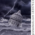Tower sinking in apocalyptic flood and storm 18307613