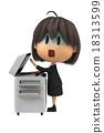 淡黄色的女性工作人员使用复印机 18313599