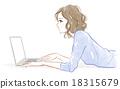 computer, female, lady 18315679