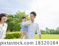 在公園裡玩的三人家庭 18320164