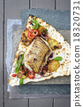 Codfish Filet with Vegetable on Yufka Bread 18320731