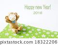 猴子 猴生肖 新年贺卡 18322206