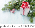 Christmas gift box and fir tree branch 18324957