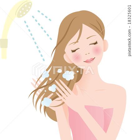 洗髮精 成熟的女人 一個年輕成年女性 18325601