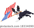 Boston Terrier Running Flag 18334090
