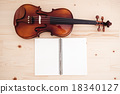 Close up of violin and book on pine table 18340127