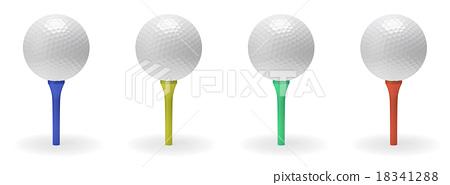 Golf ball on tee set 18341288