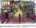 lit up, light up, entertainment district in kyoto 18347775