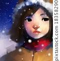 cute girl in wintertime outdoor, 18358290