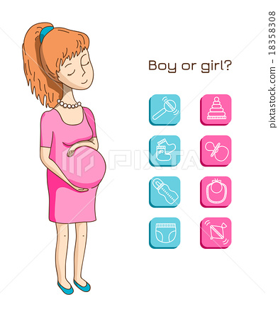 Pregnant woman and baby icon 18358308