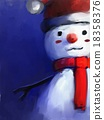snowman with santa claus hat 18358376