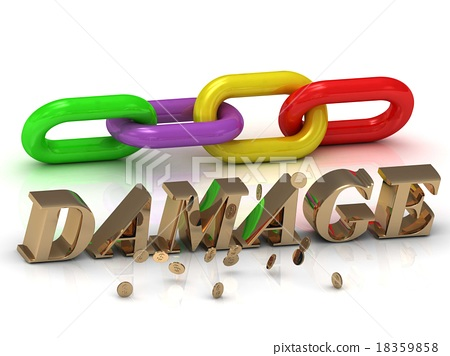DAMAGE- of bright letters and color chain 18359858