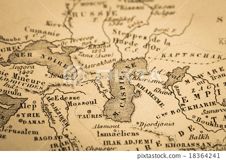 Antique world map Caspian Sea - Stock Photo [18364241] - PIXTA
