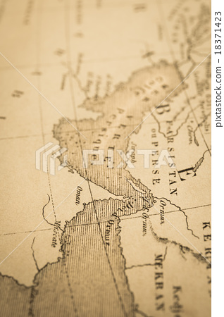Antique world map Persian Gulf and Holmes Strait - Stock Photo ...