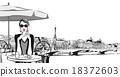 Young woman having breakfast in Paris 18372603