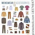 Men fashion clothes and accessories flat icons  18374647