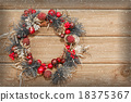 Christmas wreath on the wooden background. 18375367