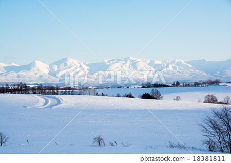 Stock Photo: snow mountain, sunny winter day, mount biei