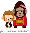 인사하는 원숭이와 고릴라 커플 18388963