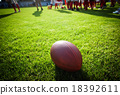 Close up of an american football on the field 18392611