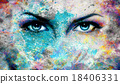 Blue goddess women eye, multicolor background. eye 18406331
