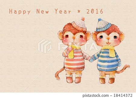 Illustration of New Year's cards in 2016 18414372