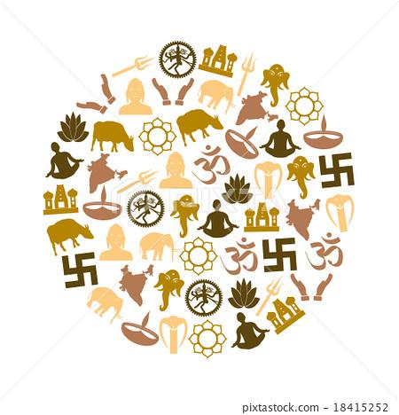 hinduism symbols vector set of icons in circle - Stock