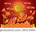 Golden koi fish with fullmoon 18423683