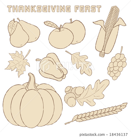 Template with hand drawn Thanksgiving elements. 18436137