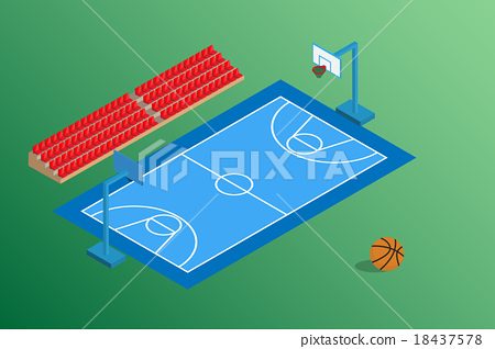 basketball blue field and outdoor stadium seat 18437578