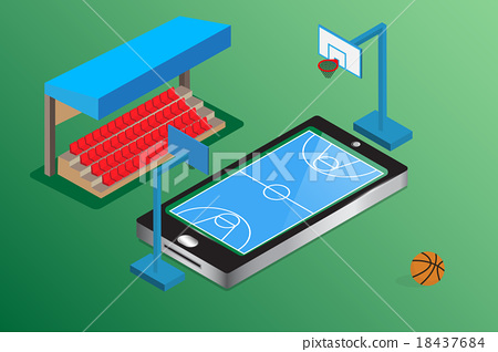 watching basketball online smartphone live concept 18437684
