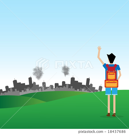 backpacker say goodbye to pollution city vacation holiday concep 18437686