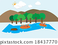 rafting on river vector background 18437770