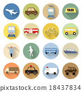 set of transportation icon flat style with long shadow 18437834