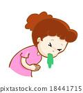 ill woman vomiting cartoon vector 18441715