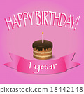 Happy Birthday card. Cupcake with lit candle.  18442148