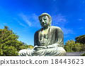 blue sky, clear autumnal weather, buddha statue 18443623