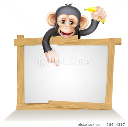 Cartoon Chimp Monnkey Sign 18444317