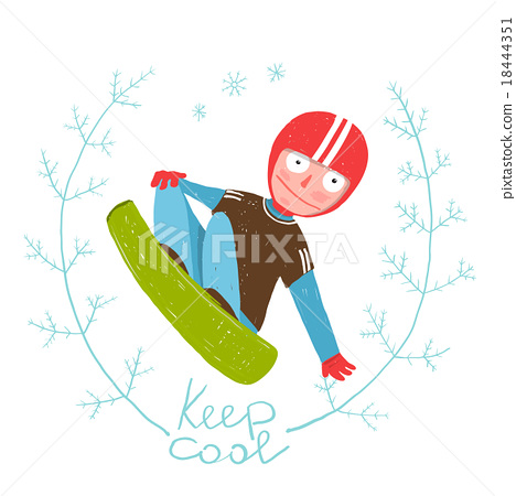 Snowboard Funky Free Rider Jumping Colorful 18444351