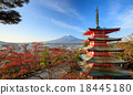 Mt. Fuji with Chureito Pagoda, Fujiyoshida, Japan 18445180
