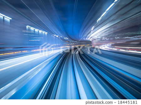Stock Photo: Motion blur of train moving in Tokyo, Japan