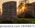 Sunset in countryside near the destroyed bridge 18448873