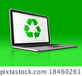 Laptop with a recycling symbol on screen.  18460261