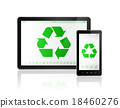 Digital tablet PC with a recycle symbol on screen. 18460276