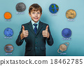 Teen boy businessman showing thumbs up sign and 18462785