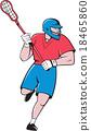 Lacrosse Player Crosse Stick Running  Cartoon 18465860