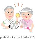矢量 年长 网球拍 18469915